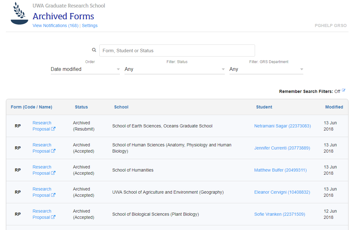 Archived forms